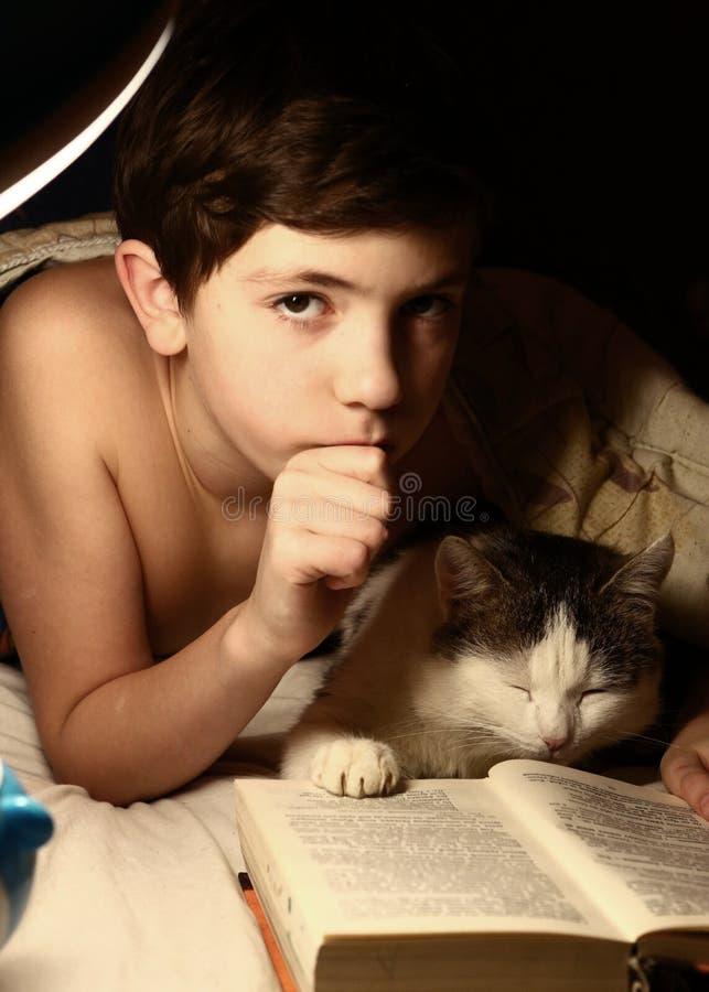 Menino bonito do preteen com lâmpada e gato do livro na cama fotografia de stock royalty free