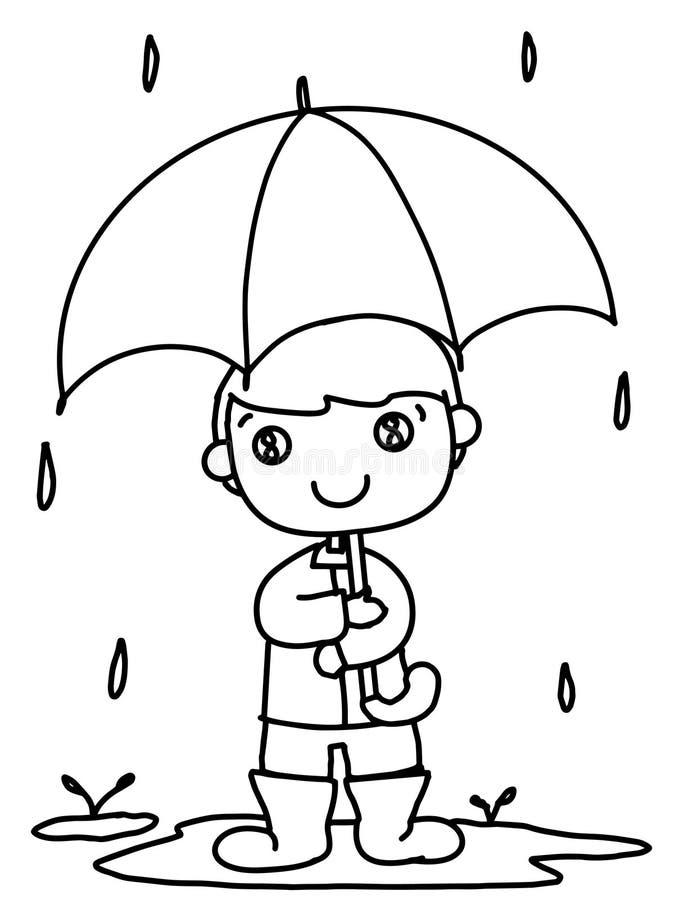 menino bonito dos desenhos animados e guarda-chuva e chover o fundo do branco da ilustração ilustração do vetor