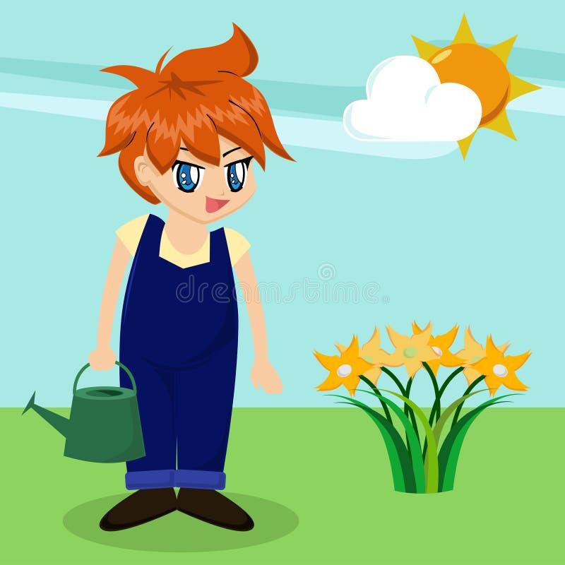 Menino bonito dos desenhos animados no jardim ilustração royalty free