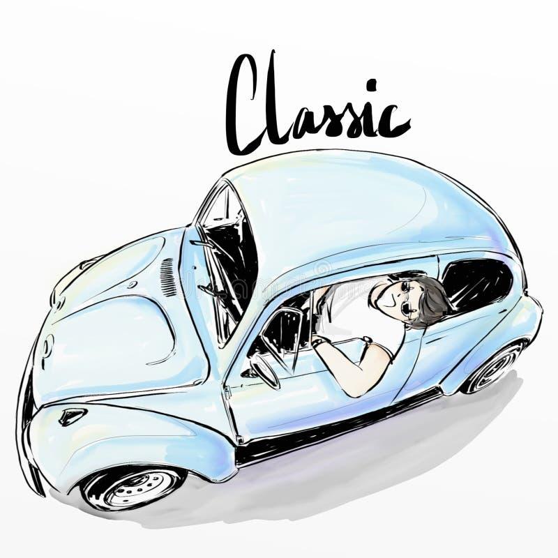 Menino bonito dos desenhos animados que conduz o carro clássico imagem de stock