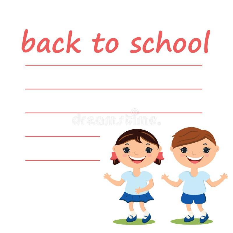 menino bonito e menina com placa de volta à escola ilustração do vetor