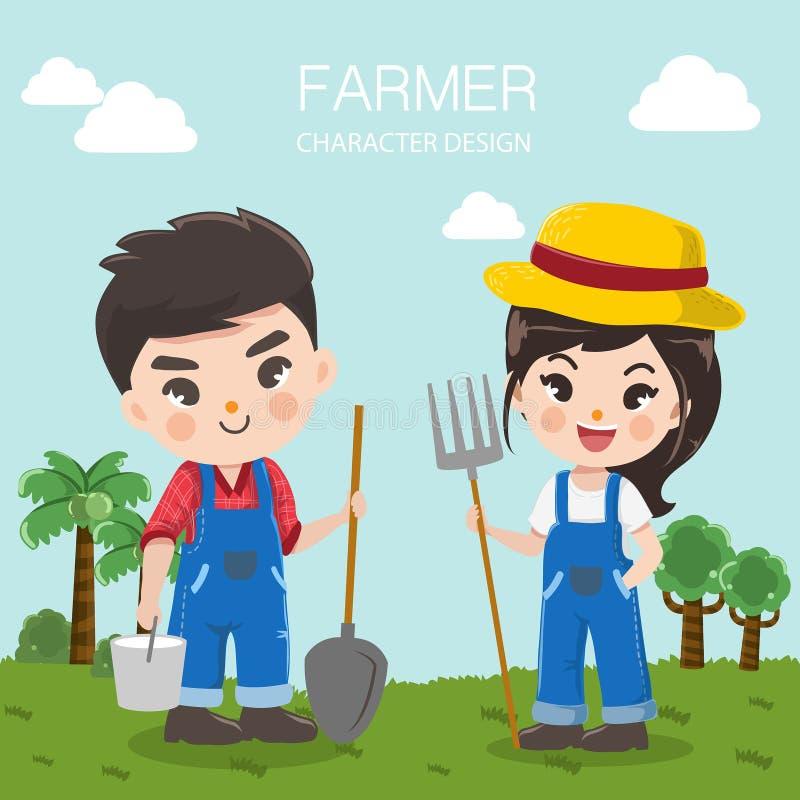 Menino bonito e menina do fazendeiro na exploração agrícola grande ilustração royalty free