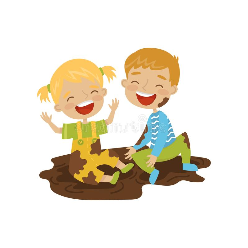 Menino bonito e menina que sentam-se em uma sujeira, crianças alegres das gorilas, ilustração má do vetor do comportamento da cri ilustração royalty free
