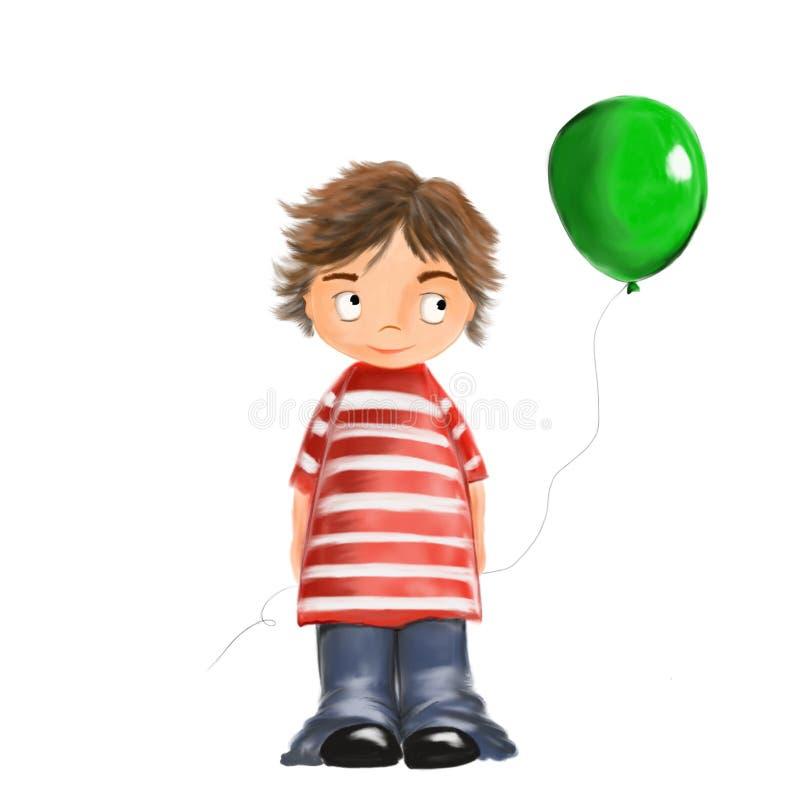 Menino bonito ilustrado com ballon ilustração stock
