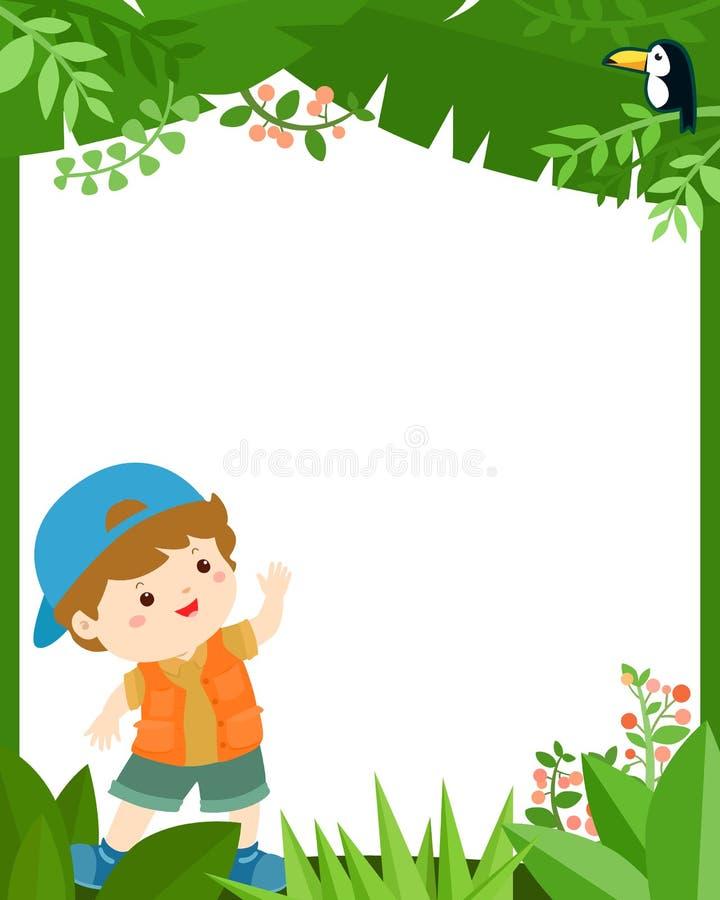 Menino bonito no quadro da selva para o vetor das crianças ilustração do vetor