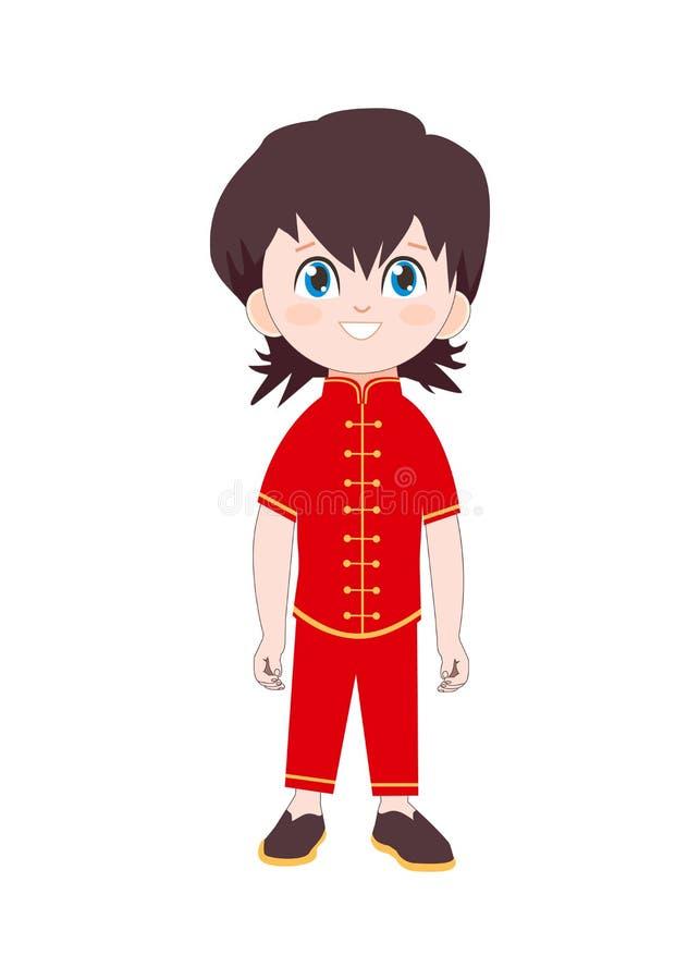 Menino bonito no traje chinês tradicional Ilustração isolada do personagem de banda desenhada do vetor com criança feliz ilustração do vetor