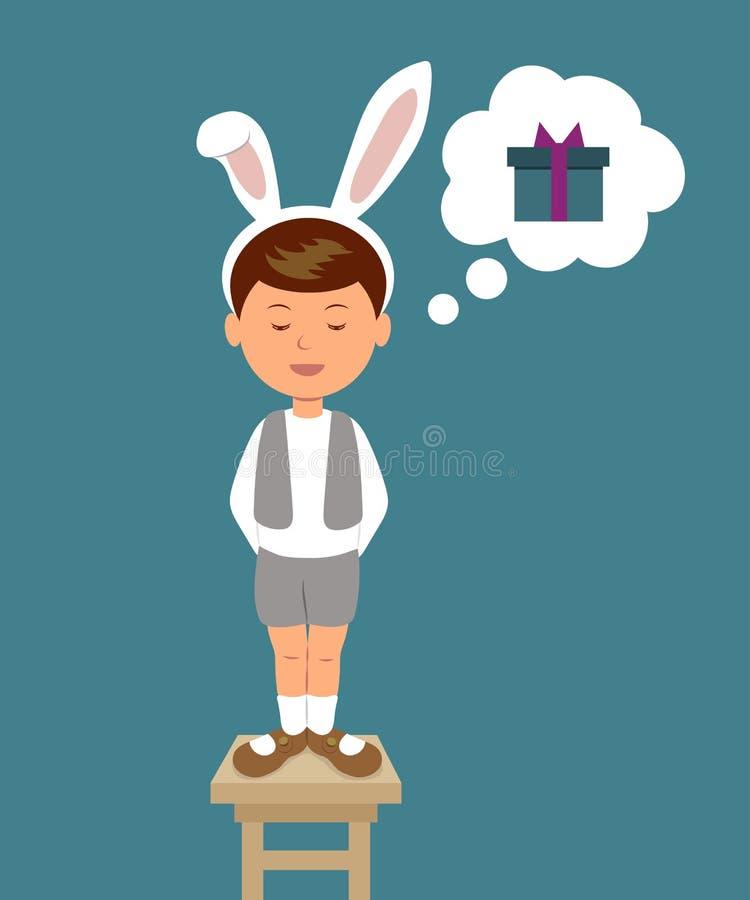Menino bonito no traje do coelho, poemas relatados sonhando sobre um presente ilustração royalty free