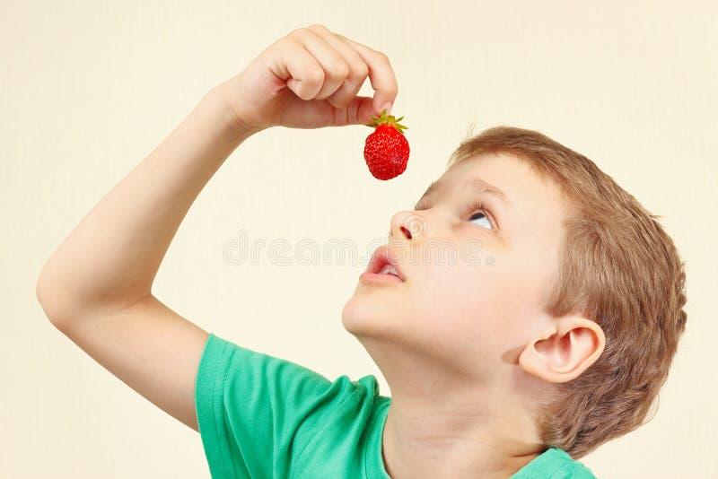 Download Menino Bonito Pequeno Que Come A Morango Madura Fresca Imagem de Stock - Imagem de mão, aprecíe: 65575005