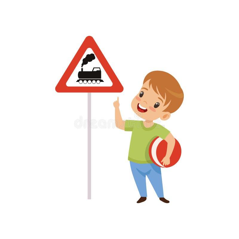 Menino bonito que aponta o dedo no trem do wiith do sinal de estrada do triângulo, educação do tráfego, regras, segurança das cri ilustração royalty free