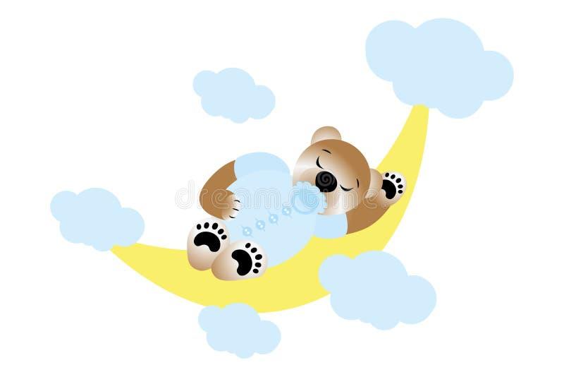 Menino bonito que dorme na meia lua - bebê novo da peluche ilustração royalty free