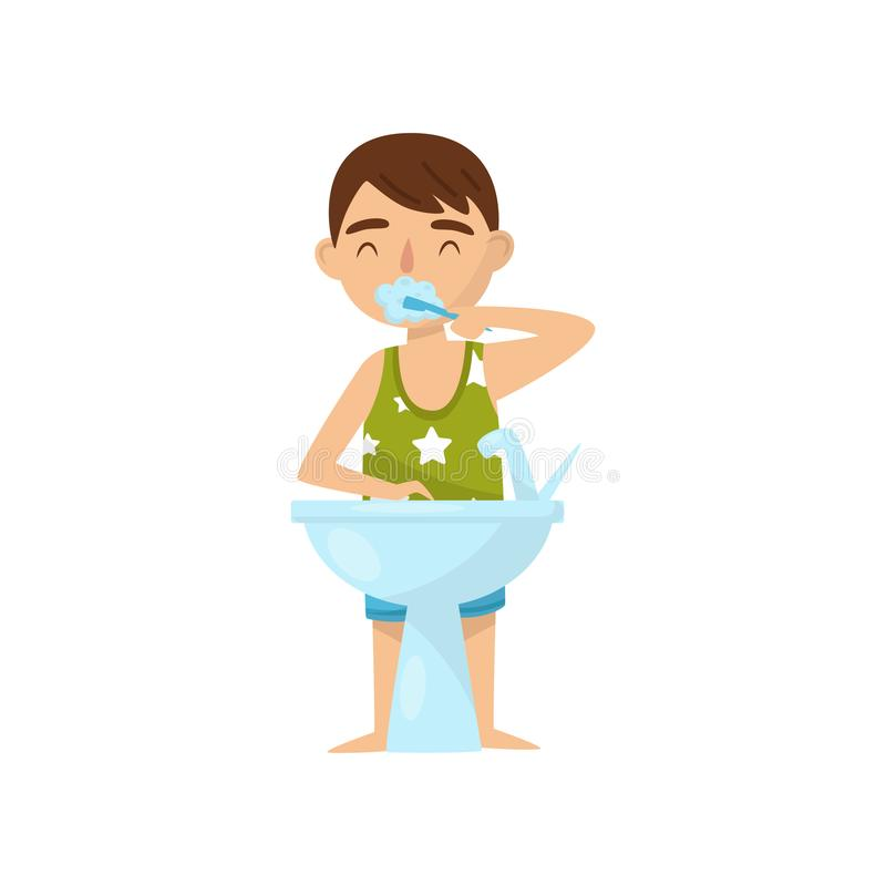 Menino bonito que escova seus dentes no banheiro após ou antes de horas de dormir, crianças atividade, ilustração rotineira diári ilustração stock