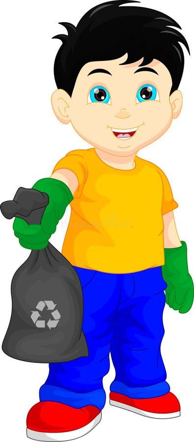 Menino bonito que guarda o saco de lixo ilustração stock