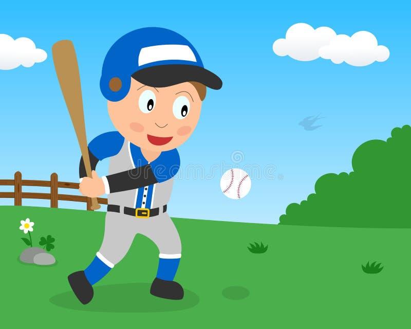 Menino bonito que joga o basebol no parque ilustração stock