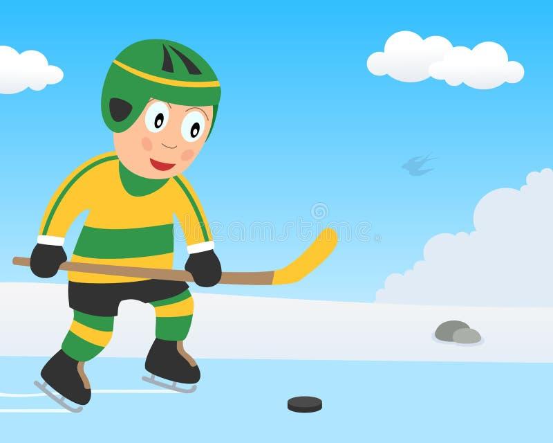 Menino bonito que joga o hóquei no gelo no parque ilustração royalty free