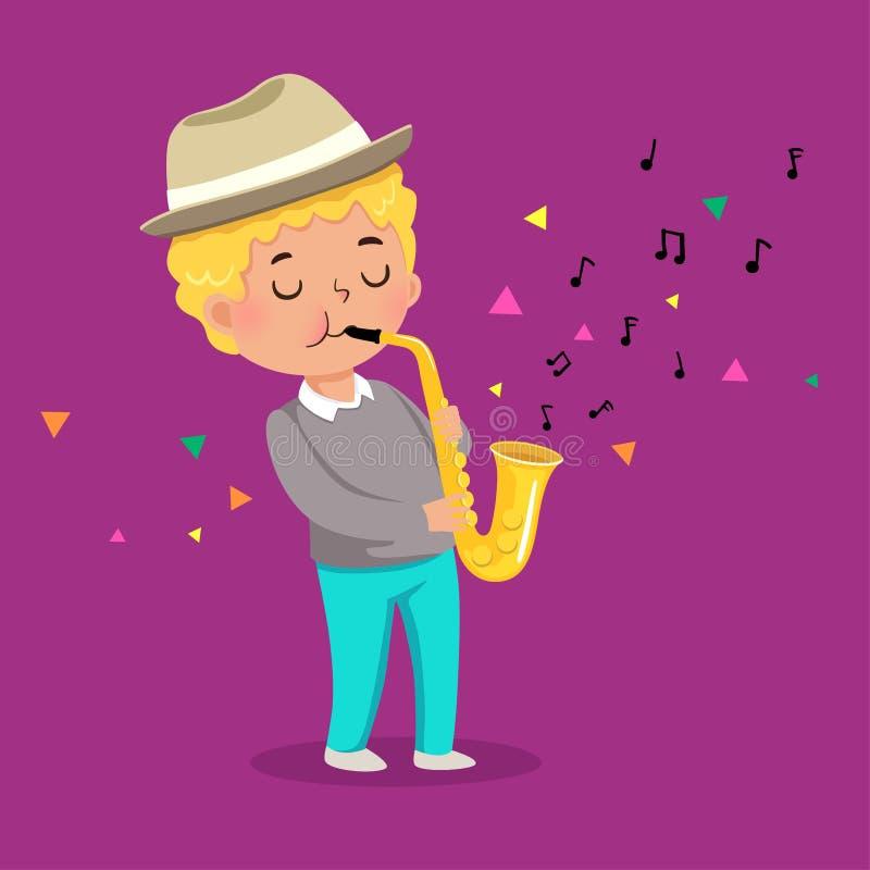Menino bonito que joga o saxofone no fundo roxo ilustração do vetor