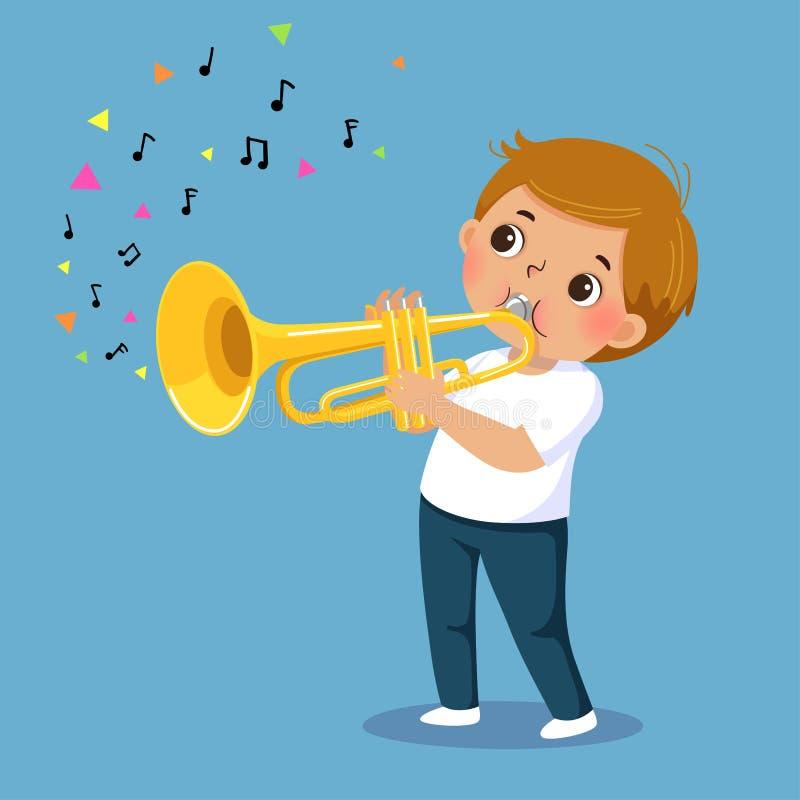 Menino bonito que joga a trombeta no fundo azul ilustração stock