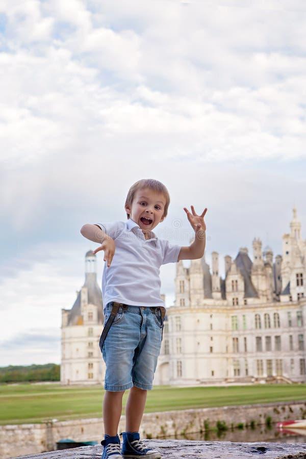 Menino bonito, tendo o verão do divertimento na frente dos chateaux de Chambord fotografia de stock
