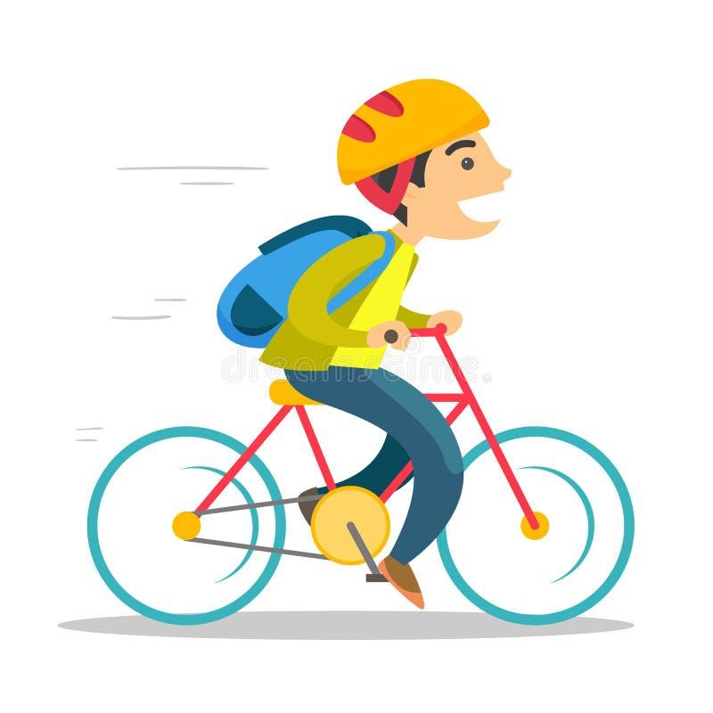 Menino branco caucasiano novo que monta uma bicicleta ilustração stock
