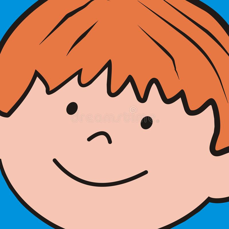Menino, cabeça da criança, fundo, ícone do vetor ilustração royalty free