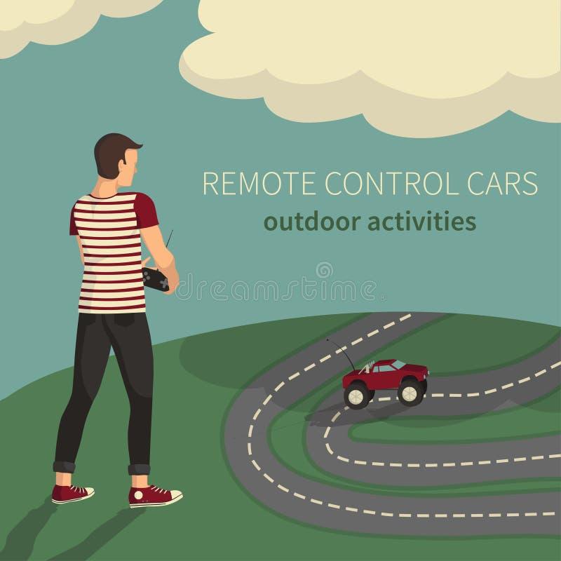Menino, carros de controlo no rádio-controlo ilustração stock