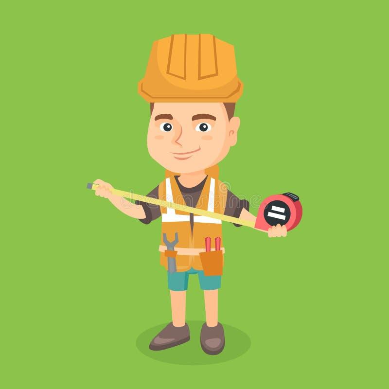 Menino caucasiano no capacete de segurança usando uma fita de medição ilustração do vetor