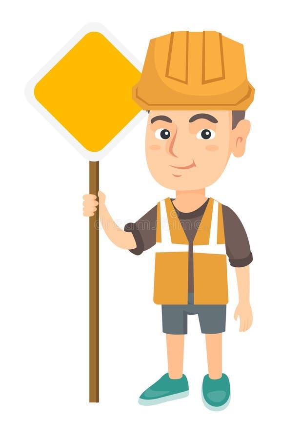 Menino caucasiano pequeno do construtor que guarda o sinal de estrada ilustração do vetor