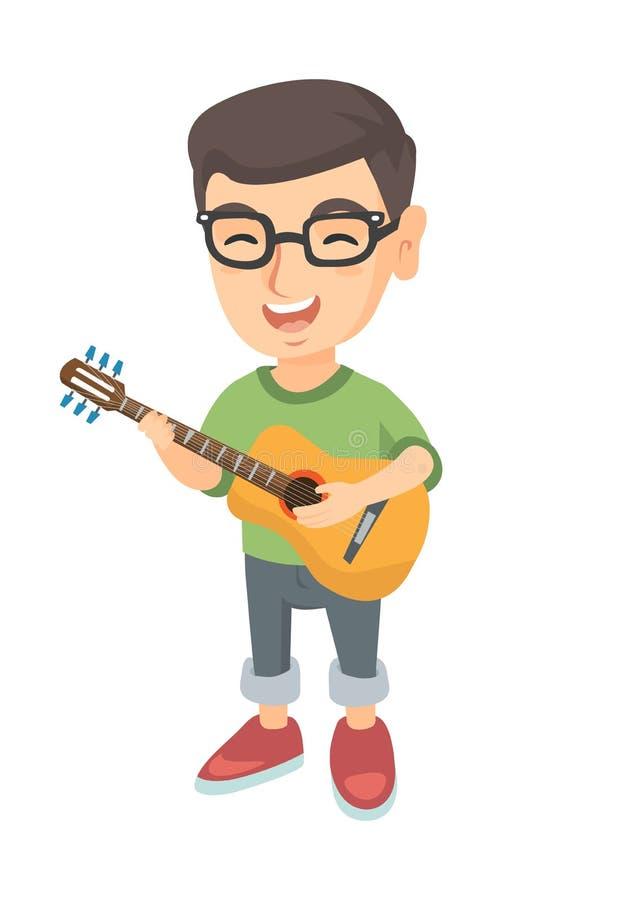 Menino caucasiano que canta e que joga a guitarra acústica ilustração stock