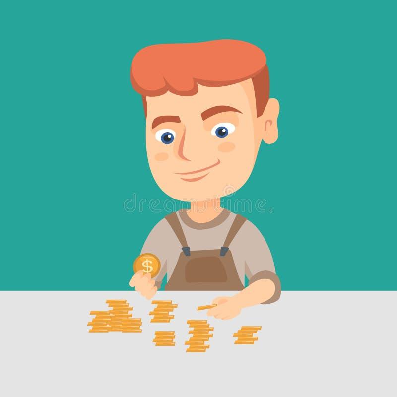 Menino caucasiano que conta moedas na tabela ilustração royalty free