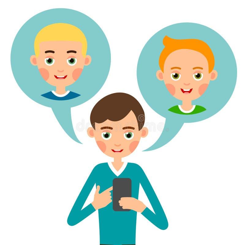 Menino chamada Homem dos desenhos animados que fala para o projeto de conceito Usando o telefone m?vel Projeto bonito Meios moder ilustração royalty free