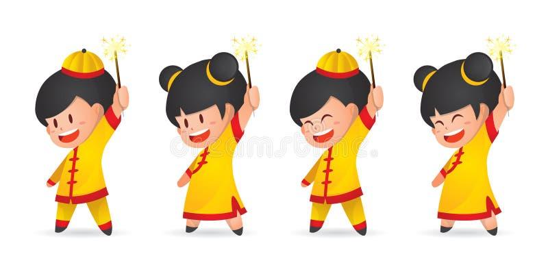Menino chinês e menina do ano novo dos desenhos animados bonitos que têm o divertimento com os chuveirinhos, isolados no branco ilustração do vetor