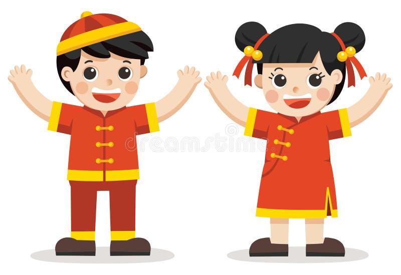 Menino chinês e menina que acenam suas mãos ilustração stock