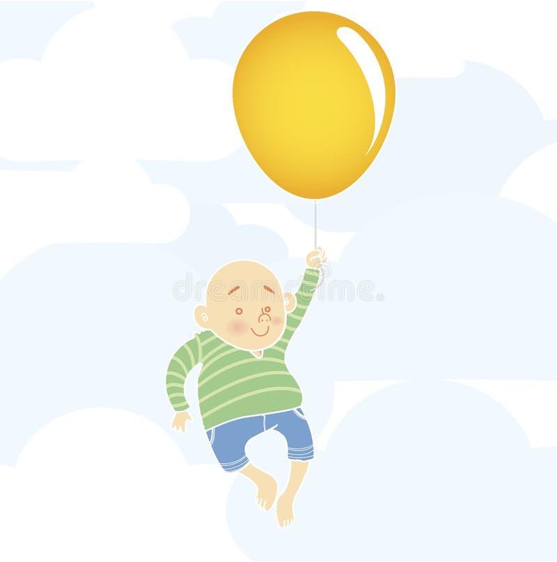 Menino Chubby com balão ilustração royalty free