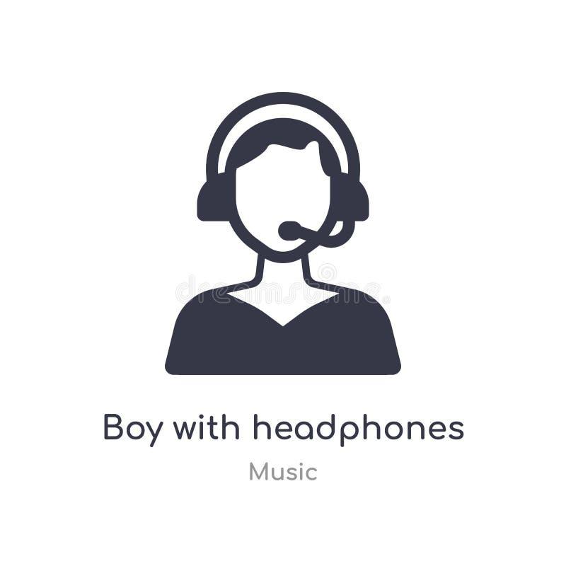 menino com ícone do esboço dos fones de ouvido linha isolada ilustra??o do vetor da cole??o da m?sica menino fino editável do cur ilustração stock