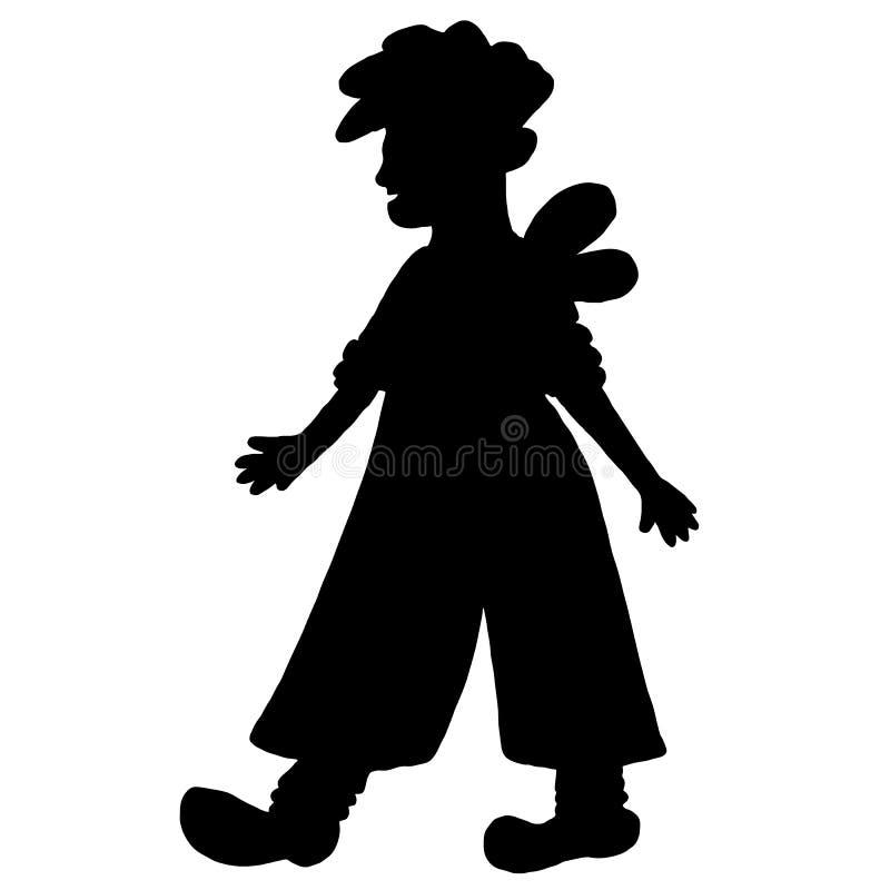 Menino com asas, silhueta preta do duende Pessoa da fantasia ilustração stock