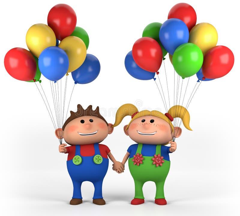 Menino com balões ilustração stock