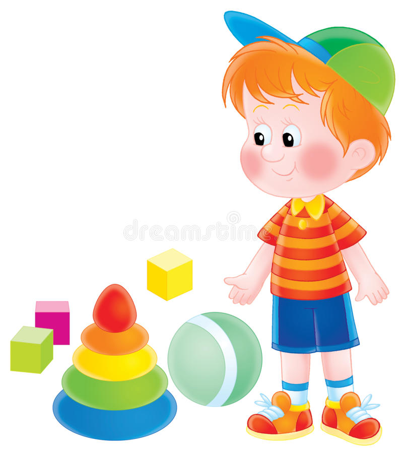 Menino com brinquedos ilustração do vetor