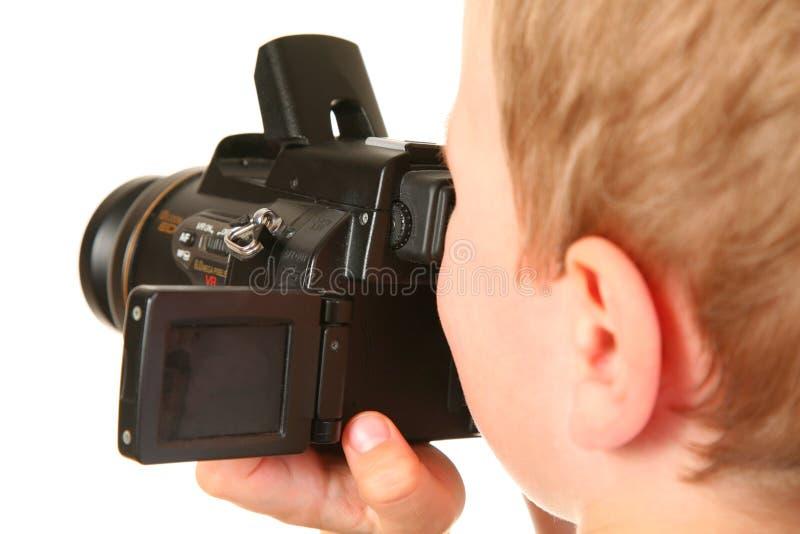 Menino com câmera imagem de stock