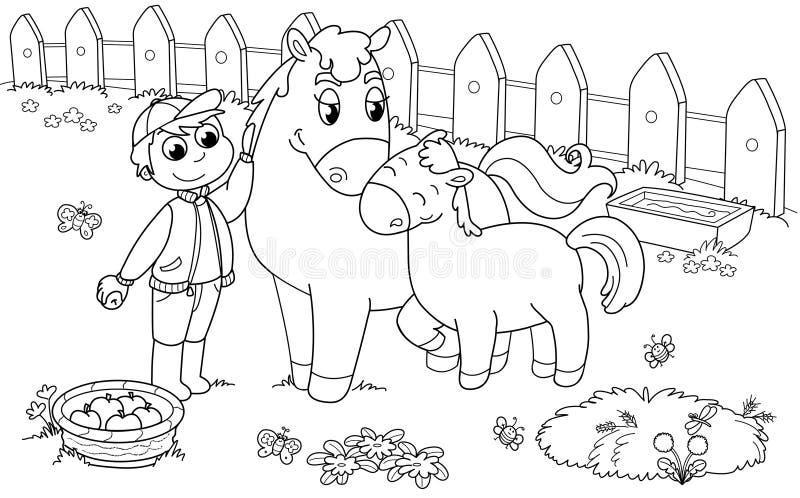 Menino com cavalo e potro ilustração royalty free