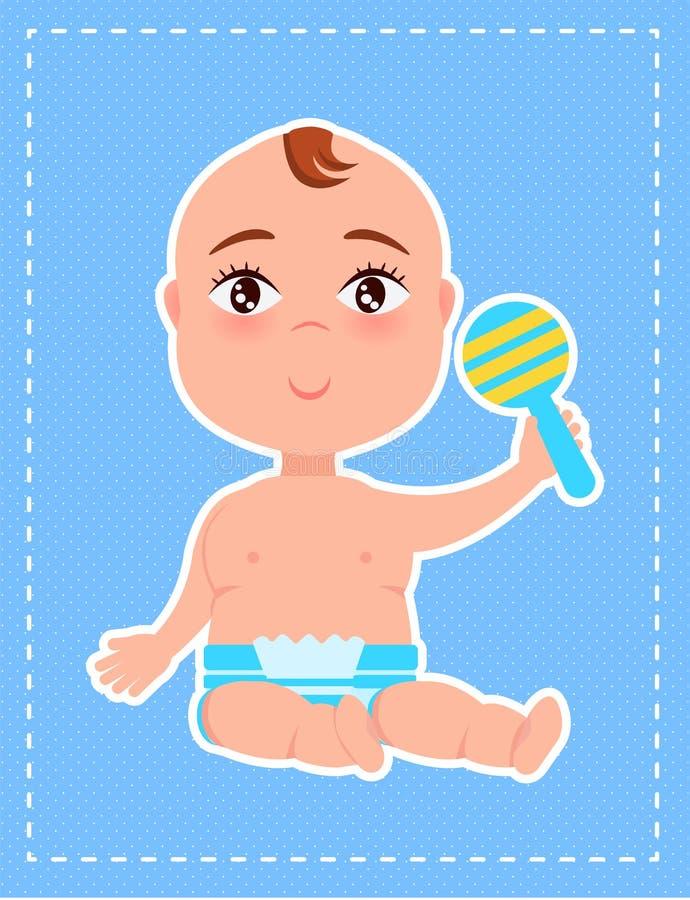 Menino com chocalho plástico à disposição, primeiro Toy Poster ilustração do vetor
