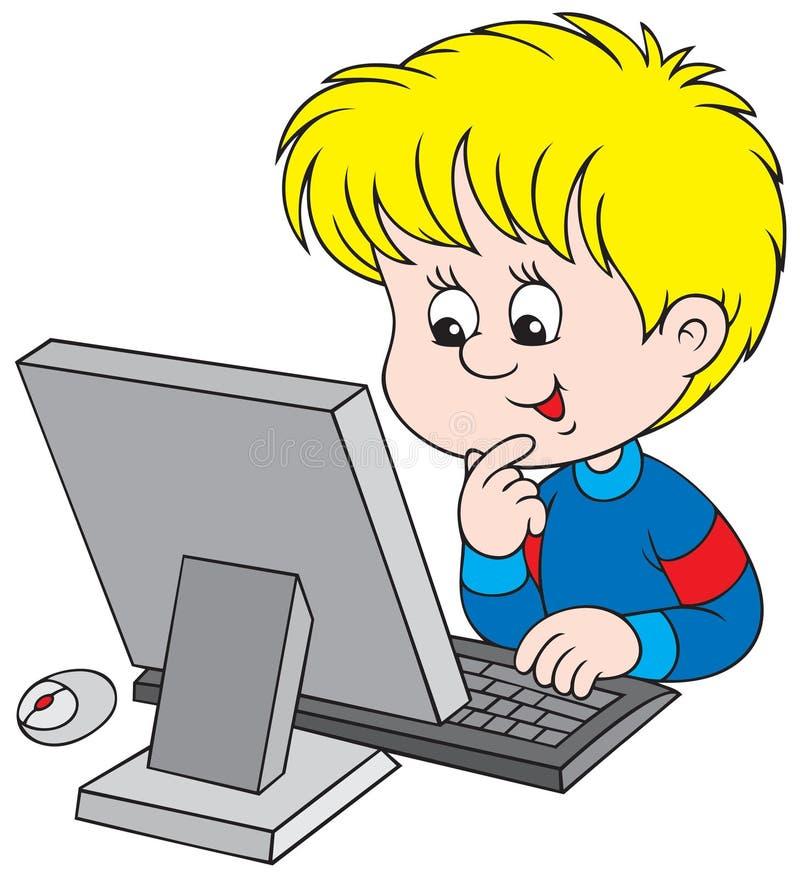 Menino com computador ilustração do vetor