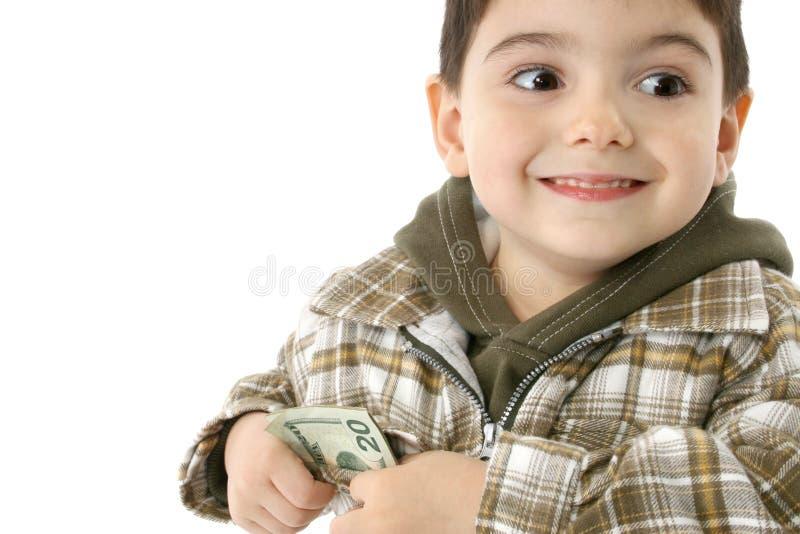 Menino com dinheiro fotografia de stock royalty free