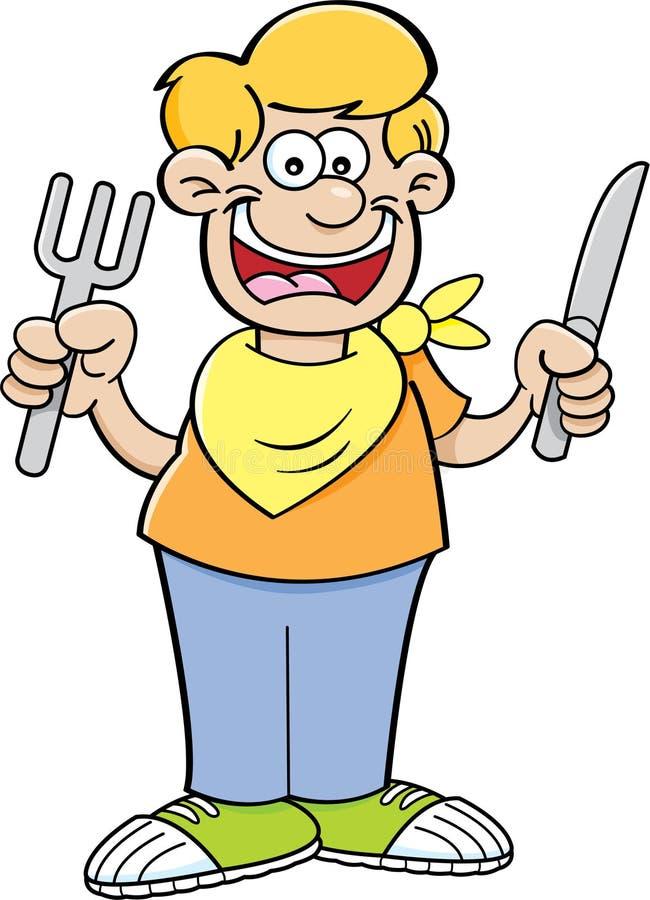 Menino com fome dos desenhos animados ilustração do vetor