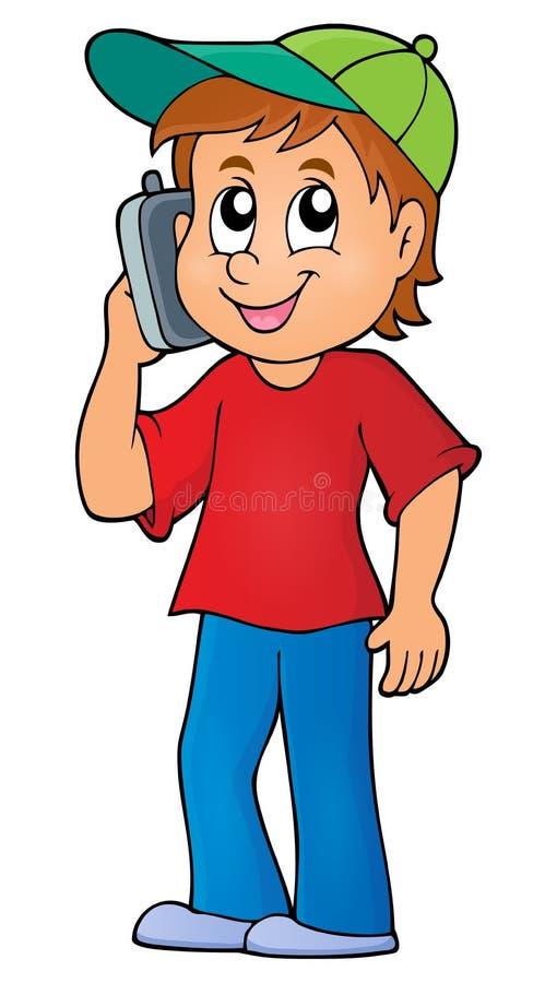 Menino com imagem 1 do tema do telefone celular ilustração royalty free