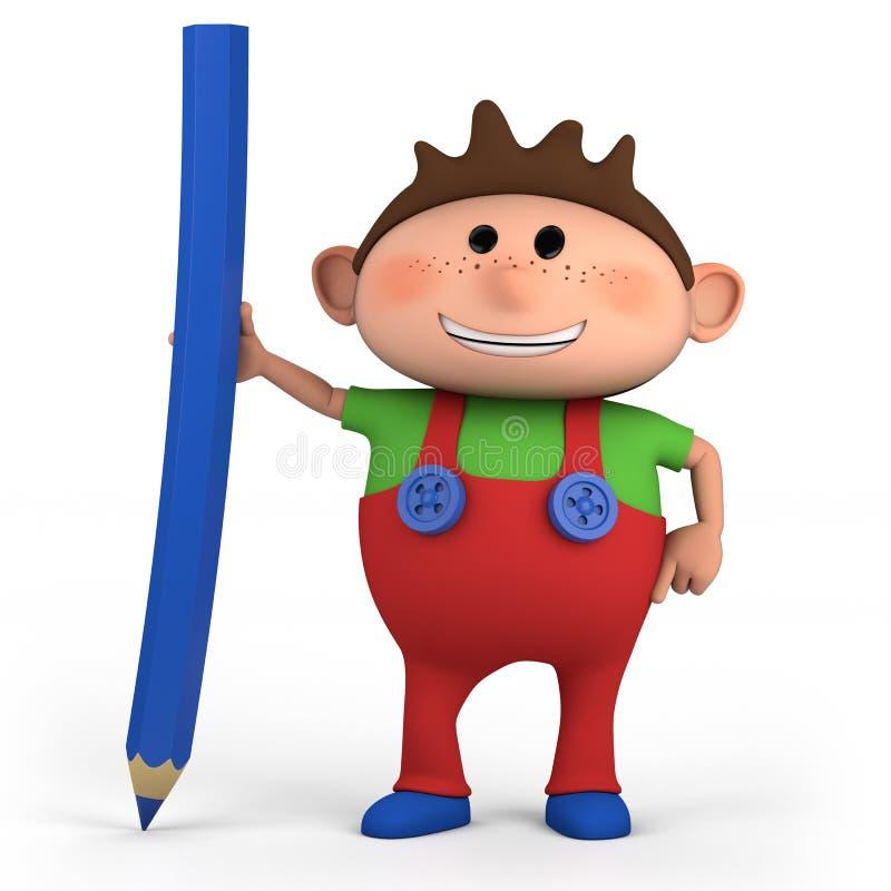 Menino com lápis colorido ilustração stock