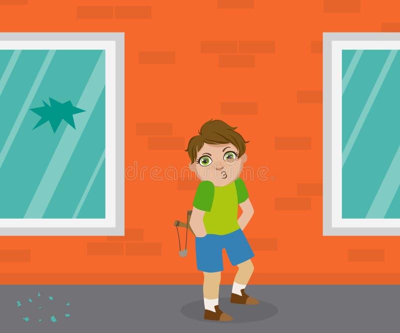 Menino com o estilingue que está na frente da janela deixada de funcionar, criança da intimidação das gorilas, ilustração má do v ilustração stock