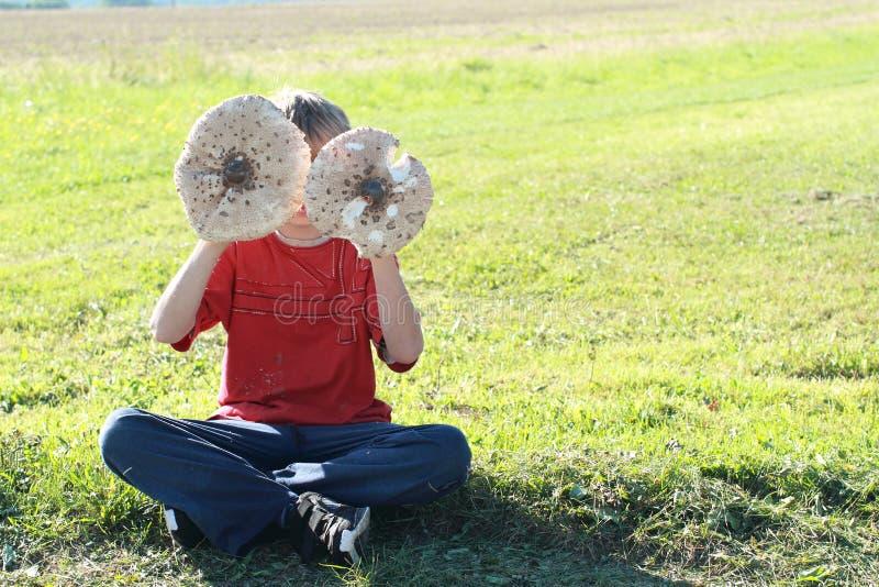 Download Menino Com Os Dois Cogumelos De Parasol Imagem de Stock - Imagem de cogumelo, menino: 26521845