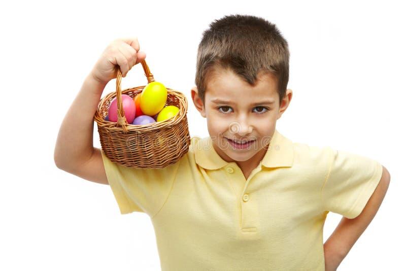 Menino com ovos de Easter imagem de stock