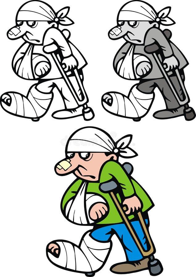 Menino com pé quebrado ilustração stock