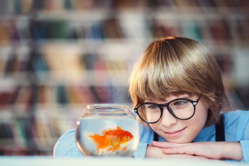 Menino com peixe dourado fotografia de stock