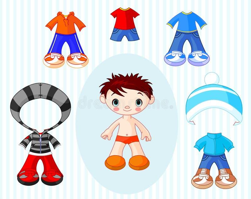 Menino com roupa ilustração stock